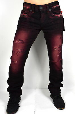 True Religion Men's Ricky Relaxed Straight Red Blaze Super T Jeans - MDA859N28W