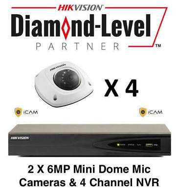 5MP 4CH Hikvision CCTV Microphone Kit 4 x 5MP Mini Dome Cameras + 4CH NVR