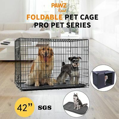 "42""48'' Pet Dog Cat Cage Crate Kennel Bed Foldable Suitcase/Mattress/Cover/Fence"