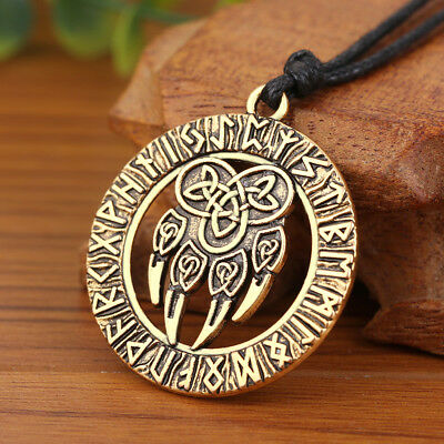 Round Pagan Nordic Rune Talisman Amulet with Bear Paw Claw Knot Pendant Necklace