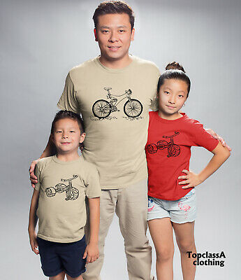 Big Bicycle Little Bicycle Father Dad Son Daddy Daughter Family Matching T shirt