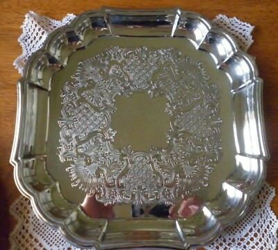 Vintage Square Silver Plate Serving Tray 29cm - Stokes - Etched Decorated