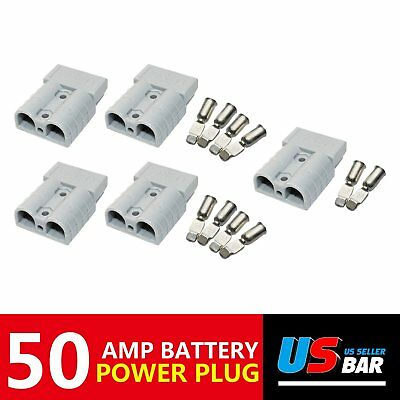 5x 600V 50A Power Pole Connector Plug Jumper Booster Cables Secure Quick Connect