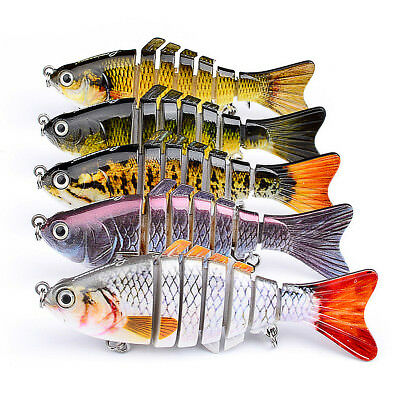 7 Segment Multi Jointed Fishing Lure Minnow Crank Baits Bass Life-like Swimbait