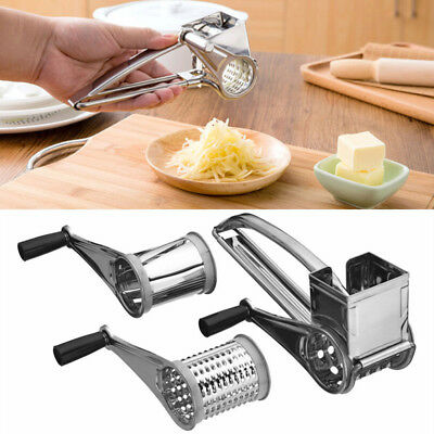 Cheese Graters Rotary Slicer Safety Stainless Steel Silver Cake Gadget