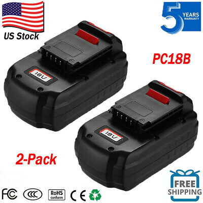 2-Pack New 18V Battery For PORTER-CABLE PC18B PCC489N 18V Cordless Tools PC188
