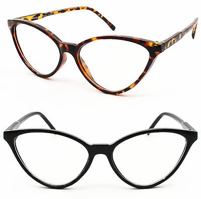 Ladies Rockabillly Cat eye Clear Lens Glasses 80's Eyeglasses