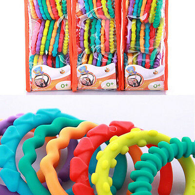 Rainbow Teether Ring Links Plastic Baby Kids Infant Stroller Gym Play Mat Toys R