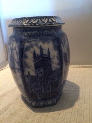 Ringtons Blue and White Maling Ware Hexagonal Catherdral Tea Caddy