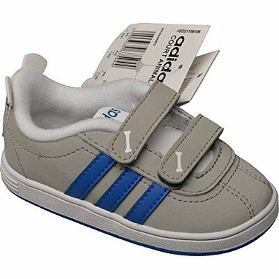 Adidas Court Animal Infant Kinderschuhe Klettverschlus grau Sneaker  NEU Kinder
