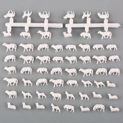 60Pcs N Scale UnPainted White Farm Animals Sheep Model Layout 1:150 Toy