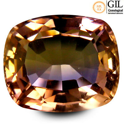 8.60 ct GIL Certified Cushion Cut (13 x 11 mm) BiColor Ametrine Natural Gemstone