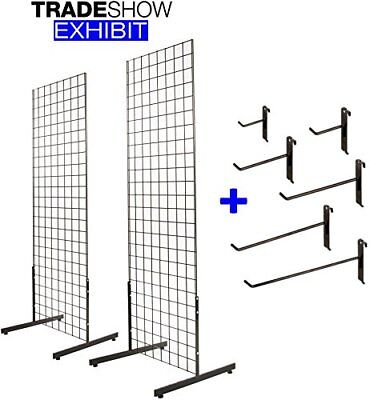 Only Hangers 2' x 6' Gridwall Tower with T-Base Floorstanding Display Kit+Hooks