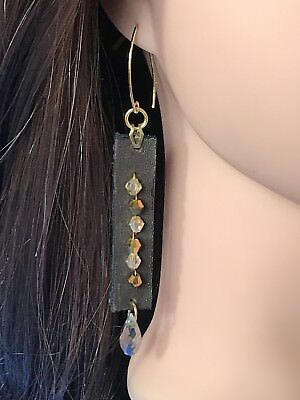 handcrafted artisan jewelry leather n crystals stick elegant long light weight