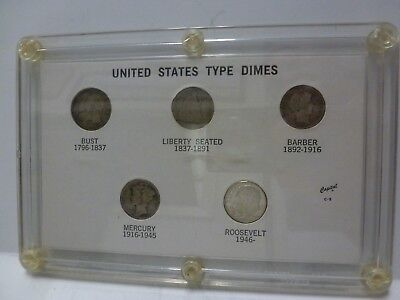 U S Dimes Type Set - Capped Bust, Seated, Barber, Mercury, Roosevelt -