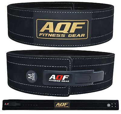 AQF Weight Lifting Leather Power Belt Lever Back Support Straps Gym Training AU