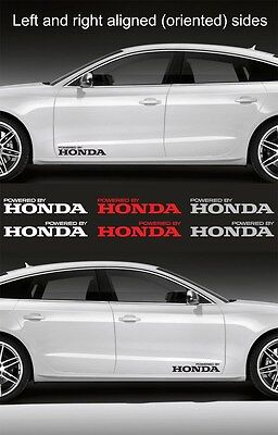 "#0325 -2pcs Powered by HONDA 15"" wide Vinyl Decal Sticker Emblem Logo Graphic"