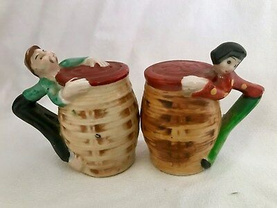 Vintage Mid-century MK Oriental Asian Man Woman Salt Pepper Shakers Novelty