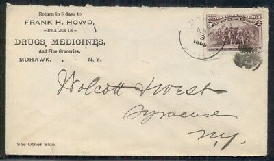 1893, Merchants Gargling Oil Liniment of Lockport NY advertising cover, w/2¢