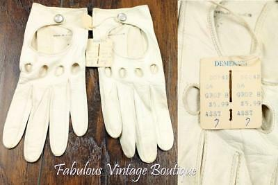 NOS Vtg DEMERY'S Genuine Soft Leather Authentic Driving GLOVES Snap Closing