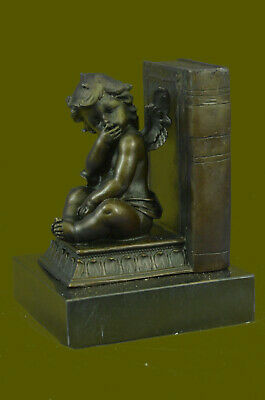 CUTE WINGS ANGEL BOOKEND Handcrafted Decor Bronze Sculpture Statue Figurine T