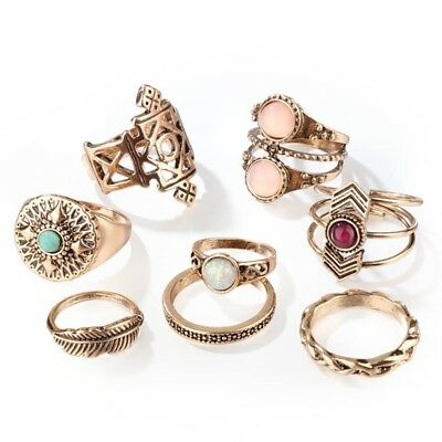 Vintage Punk Boho Crystal Opal Knuckle Midi Finger Ring Sets Women Jewelry Gift