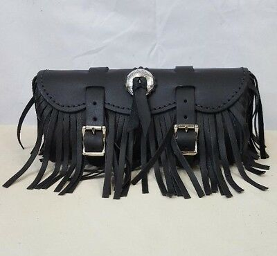 """Handmade Black Leather 9"""" Motorcycle Tool Bag with Concho and Fringe"""