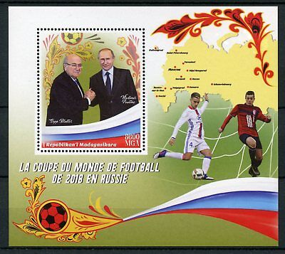 Madagascar 2017 MNH World Cup Football Russia 2018 Putin 1v S/S Soccer Stamps