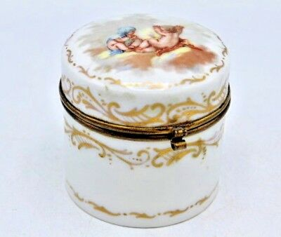 Vintage Porcelain Gilt Mounted Trinket / Dresser Box w/ Hand Painted Cherubs 3""