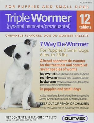 Durvet Triple Wormer for small dogs 12 tablets