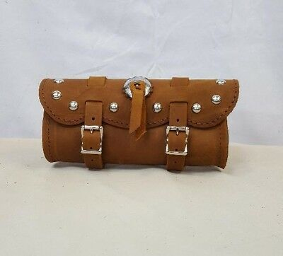 """Handmade Crazy Horse Brown Leather 9"""" Motorcycle Tool Bag with Studs and Concho"""