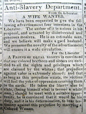 <1834 ABOLITIONIST newspaper wlarge ad WHITE MAN to MARRY COLORED NEGRO WOMAN