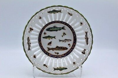 "Vintage Painted Home Decor Reticulated Plate w/ Fish Design ~ 8"" Diameter"