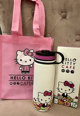 Hello Kitty Cafe Thermal Thermos Water Bottle 18 oz Limited & Reusable Bag CUTE!