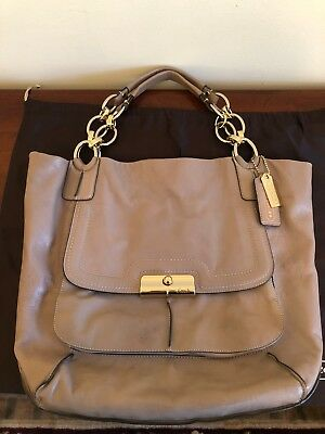 Authentic Coach Large Gray Kristin Leather Tote with Gold Chain Handle