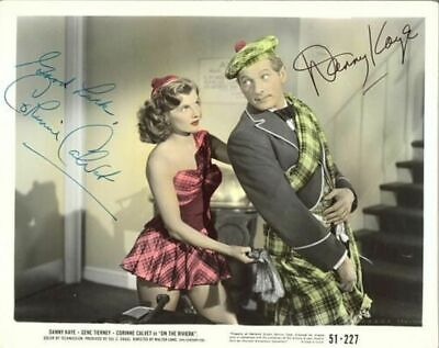 "Corinne Calvet And Danny Kaye From The Film ""On The Riviera"" Signed W/Coa 8X10"