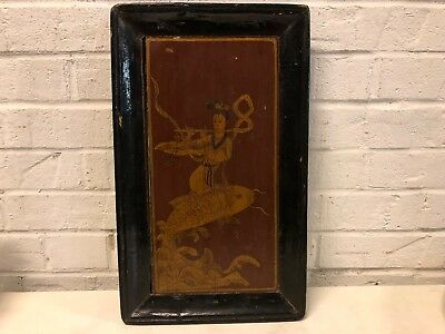 Vintage Possibly Antique Asian Wooden Plaque Woman Riding a Carp Playing Flute