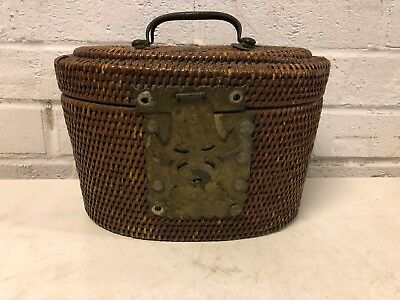 Antique Chinese Weaved Basket with FIsh Decorated Lock and Wax Seal