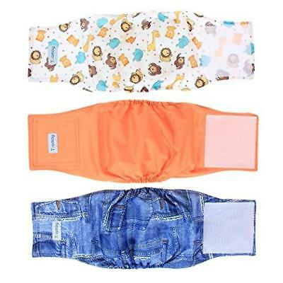 Pack Of 3 Teamoy Reusable Wrap Diapers For Male Dogs Washable Puppy Belly Band (