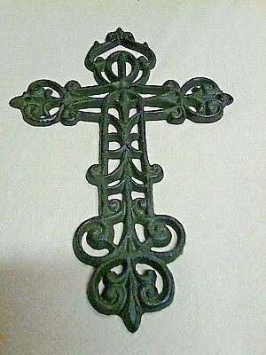 """Large Cast Iron RELIGIOUS VICTORIAN Cross 11 1/2"""" T X 8 1/2"""" W X 1/4""""thick"""