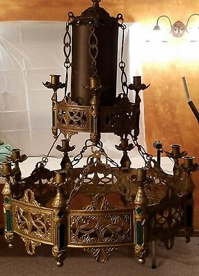 Vtg Neo Classical Gothic Revival Spanish Revival Brass Candelabra Chandelier