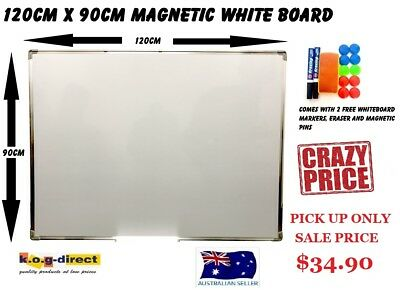 120x90cm WHITEBOARD MAGNETIC & FREE ERASER 2 MARKERS & MAGNETIC PINS 1200x900mm