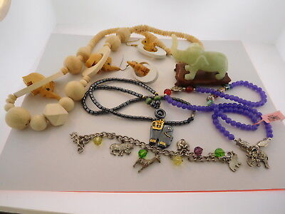 6 Piece Elephant LOT  Jewelry Necklaces and Jade or Jadite? Elephant on Stand