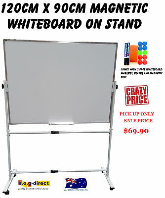 120x90cm MAGNETIC DOUBLE SIDED WHITEBOARD ON STAND & 2 FREE MARKERS ERASER &PINS