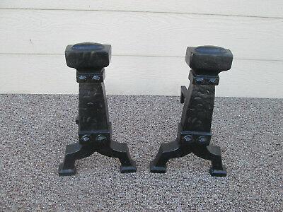 54310   Pair of Black Iron Craftsman, Mission, Arts & Crafts Fireplace Andirons