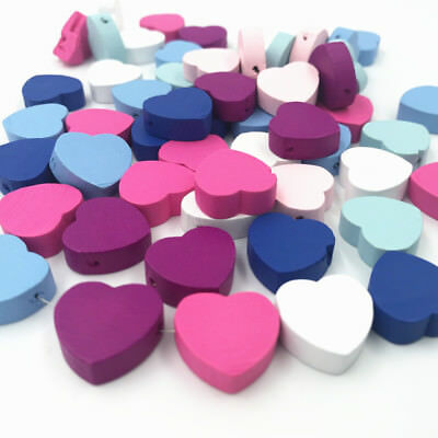 Wooden Heart Shape Wood Beads DIY Necklace Make Kids Toys Accessories 17mm