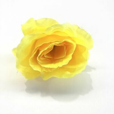 Artificial Silk Flower Head - Yellow Rose Style 88 - 1pc