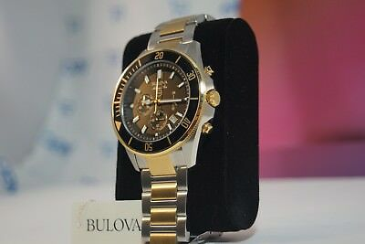 BULOVA Marine Star Two Tone Stainless Steel Chronograph 43mm Men's Watch 98B249