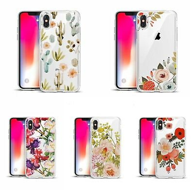iPhone XS, X Phone Case Silicone Crystal Clear + Emboss Texture Painting Flower