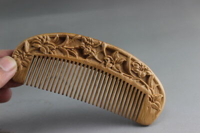 Delicate Chinese old mahogany handmade peach wooden comb lotus comb